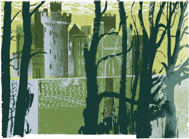 Arundel Castle through Trees (yellow)