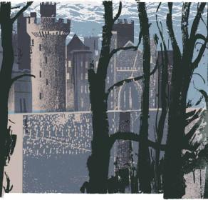 Arundel Castle through Trees (blue)